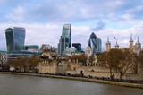 Fototapeta Londyn - Wieżowce w centrum Londynu nad Tamizą.