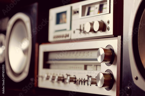 Fotografía  Vintage audio stereo rack with cassette tape deck receiver and s