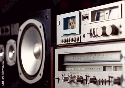 Photo Vintage audio stereo rack with cassette tape deck receiver and s