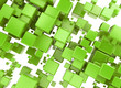 canvas print picture - Green 3d cubes abstract background