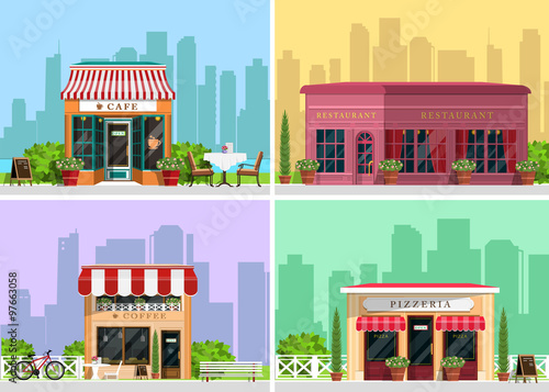 Poster de jardin Restaurant Modern landscape set with cafe, restaurant, pizzeria, coffee house building, trees, bushes, flowers, benches, restaurant tables. Flat style vector illustration.