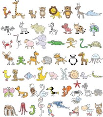Children's drawings of doodle animals