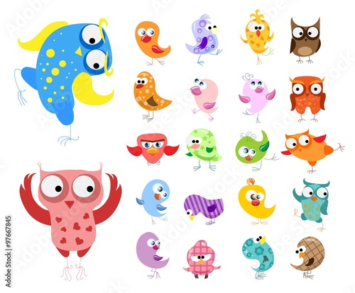 Canvas Prints Creatures Set of vector cartoon birds
