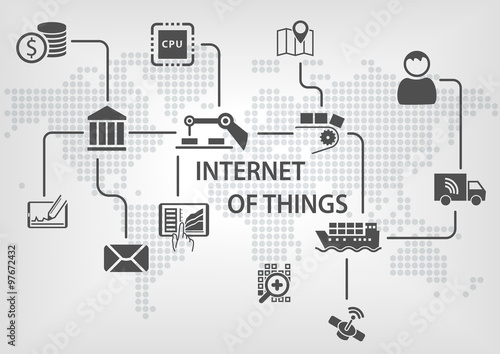 Internet of things (IOT) concept with industrialized and wireless production process. Grey background with world map.