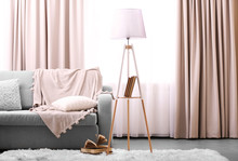 Comfortable Sofa With Lamp And...