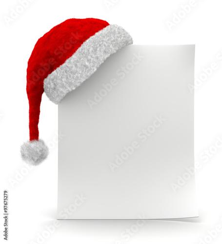 Valokuva  foglietto bianco con cappello di Natale