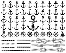 Set Of Anchors, Rudders Icons,...