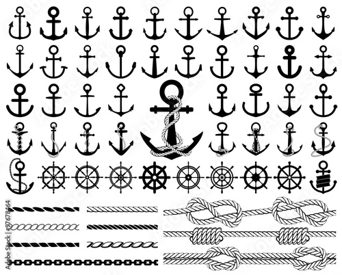 Fototapeta Set of anchors, rudders icons, and ropes. Vector illustration.