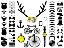 Set Of Hipster Icons. Vector Illustration.