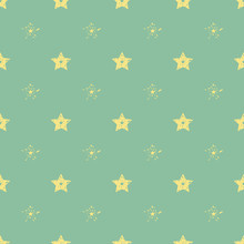 Vector Seamless Geometric Pattern Background For Decoration, Wallpaper, Web Page, Surface Textures And Print. Minimalistic Beige Star Green Backdrop. EPS 10