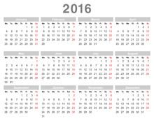 2016 Year Annual Calendar (Mon...