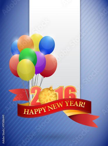 Photo  2016 happy new year ribbon and balloon card