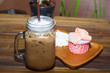 Iced coffee with blueberry cheese cake