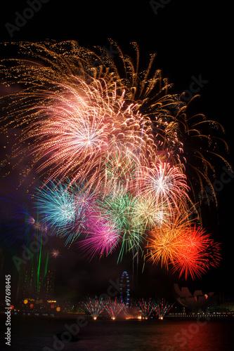 Photo  Fireworks over Marina Bay