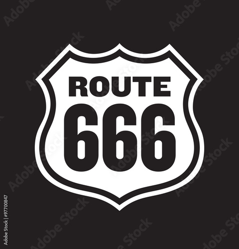 Fotografia, Obraz  Route 666 Road Sign vector illustration