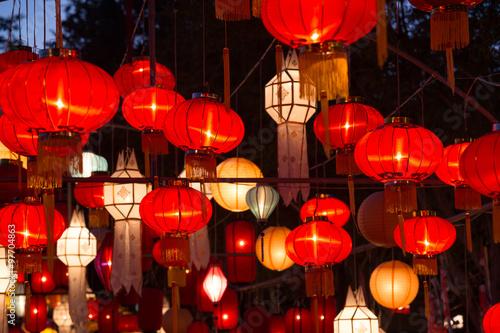 Photo Stands Shanghai Northern Thai Style Lanterns at Loi Krathong Festival