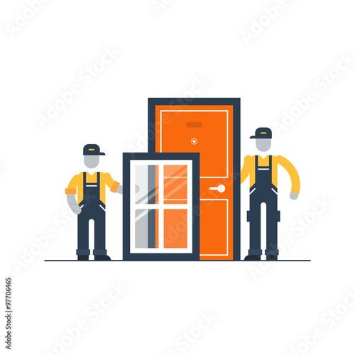 Fotografie, Tablou  Windows and doors installment services