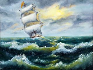 Fototapeta Morze Ship in ocean