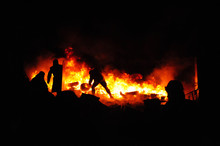 Protester Refugee Burn Tires To Stop The Riot Police. Street Fights In Kyiv, Ukraine. Ukraine Crisis. Fires Of A Revolution.
