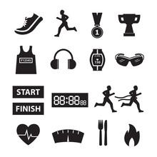 Running Vector,running Icon Set