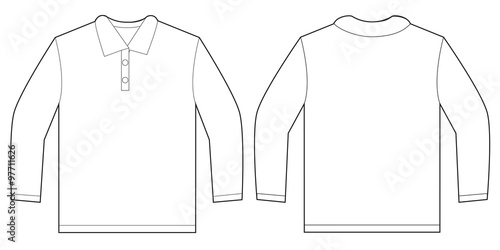 Design At Shirt Template | White Long Sleeve Polo Shirt Design Template Buy This Stock Vector