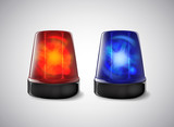 Police beacon. Blue and red siren flashing emergency light.