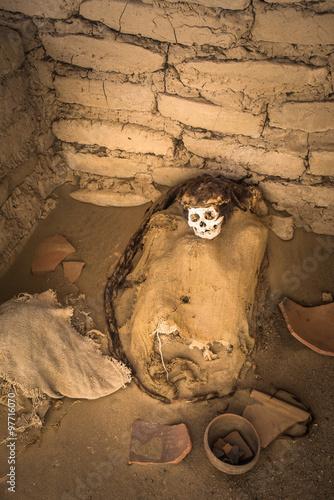 Poster Inspiration painterly Chauchilla Cemetery with prehispanic mummies in Nazca desert, Pe