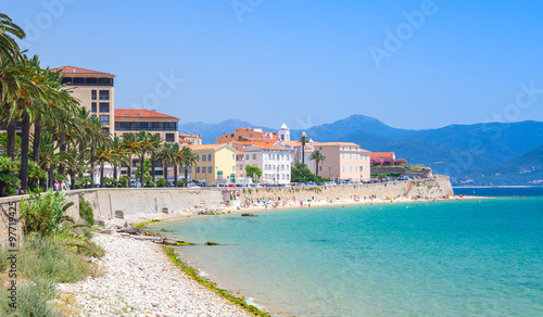Ajaccio cityscape, Corsica island, France. Beach Canvas Print