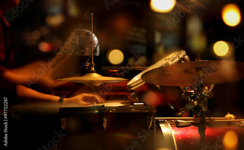 Photo  Jazz drummer in a nightclub