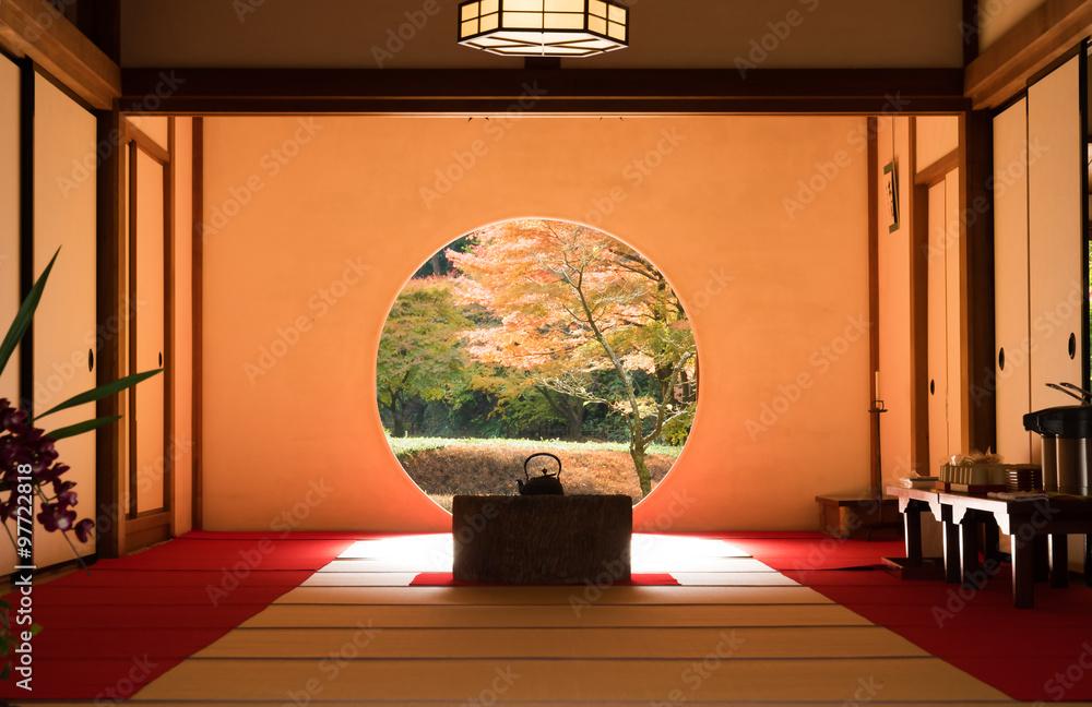Horizontal Garden view of the Meigetsuin Temple, Yamanouchi, Kamakura, Kanagawa, Japan 鎌倉の明月院