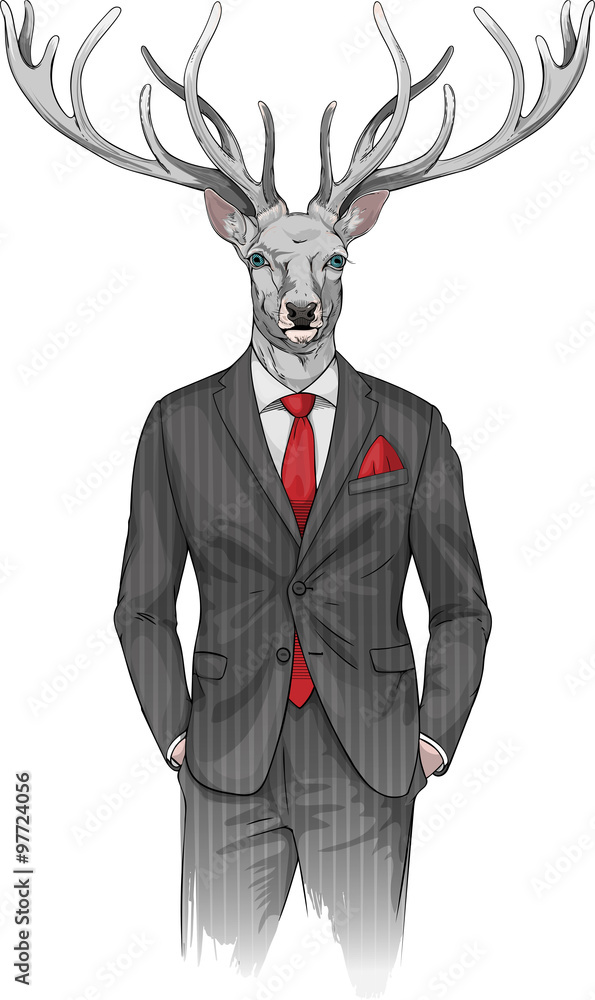 Fototapety, obrazy: man with deer's head dressed in a suit