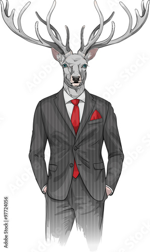 Obraz man with deer's head dressed in a suit - fototapety do salonu