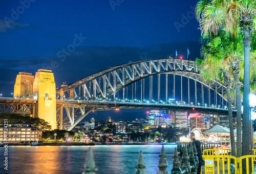 Obraz na plátne  Magnificence of Harbour Bridge at dusk, Sydney