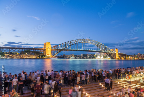 Fotografia, Obraz  SYDNEY - NOVEMBER 6, 2015: Locals and tourists in front of Harbo
