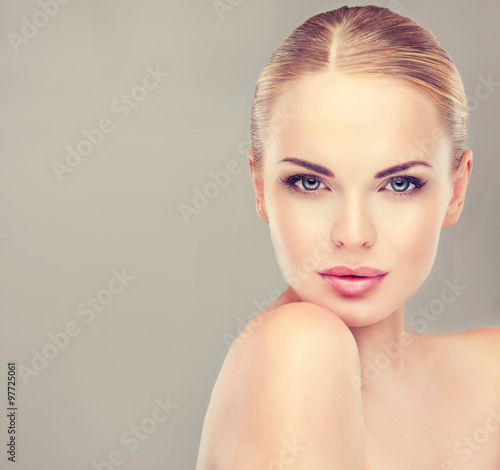 Beautiful Young Woman with Clean Fresh Skin close up Poster
