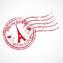 Paris Vector Rubber Stamp.