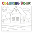 Coloring book with house and river: farm landscape