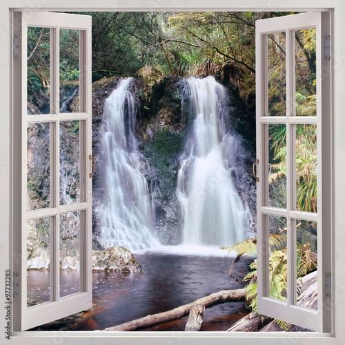 Open window view to Hogarth Falls, Tasmania