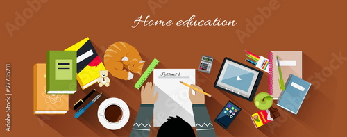 Valokuva  Home Education Flat Design Concept