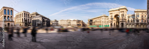 Tuinposter Milan Piazza Duomo panoramic view Milan Italy - moved style photo