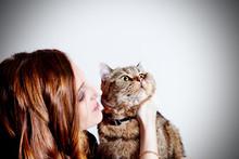 Hermosa Chica Con Su Gato En El Fondo Blanco. Personas Y Animales Domésticos.