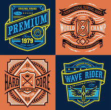 Vintage Surfing Emblem Graphic...