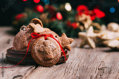 Christmas Angel Cookies With Decoration In A Background Buy This