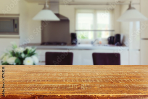 Interior background with empty kitchen table