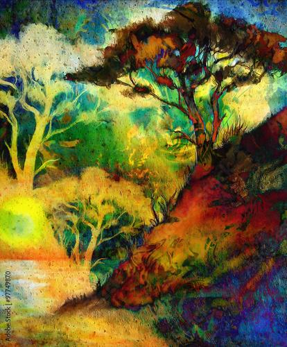 bogini-kobieta-z-ozdobna-twarza-i-drzewem-i-kolor-tla-streszczenie-medytacyjne-zamkniete-oczy-kolaz-komputerowy-niebieski-czarny-zolty-zielony-col