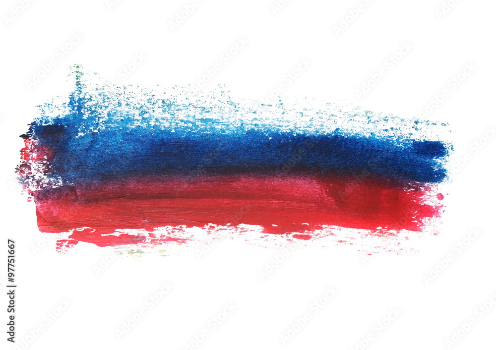 Fototapety, obrazy: photo red blue grunge brush strokes oil paint isolated on white background