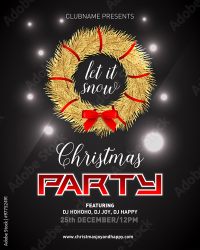 fashion luxury elegant rich christmas night party poster invitation card
