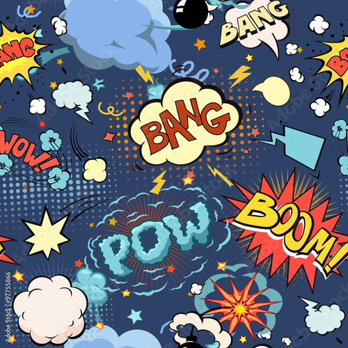 Fototapety Pop Art   seamless-pattern-background-with-comic-book-speech-bubbles-vector-illustration