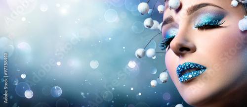 Fotografie, Obraz  Christmas Makeup - Rhinestones On Lips And Snowy Eyelashes