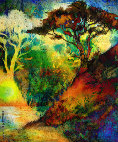 Fototapety, obrazy: Painting sunset, sea and tree, wallpaper landscape, color collage. and abstract grunge background with spots. Red, green, yellow, black color.